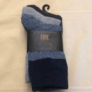 Frye socks. 3pair. New. blue /grey/black  details